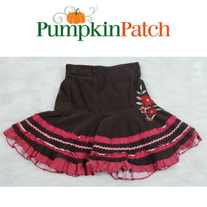 Pumpkin Patch Brown Red Floral Embroidered Skirt S